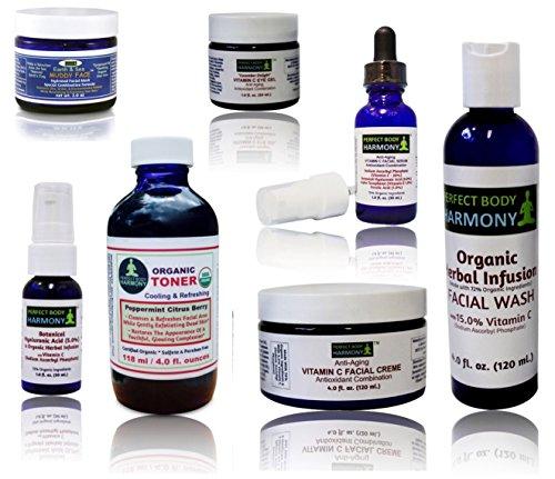 Perfect Body Harmony - Anti Aging SIX Product Vitamin C KIT (Plus BONUS Muddy Face Facial Clay Mask.) Vitamin C Face Wash, CE Serum, Botanical Hyaluronic Acid Serum, Face Creme, Cucumber Eye Gel & Certified Organic Toner!