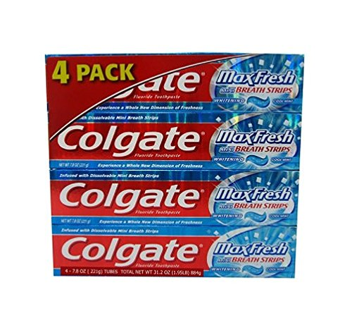 Colgate - Colgate Max Fresh Gel Toothpaste, Fluoride, Cool Mint, with Mini Breath Strips, 7.8 Ounces (Pack of 4)