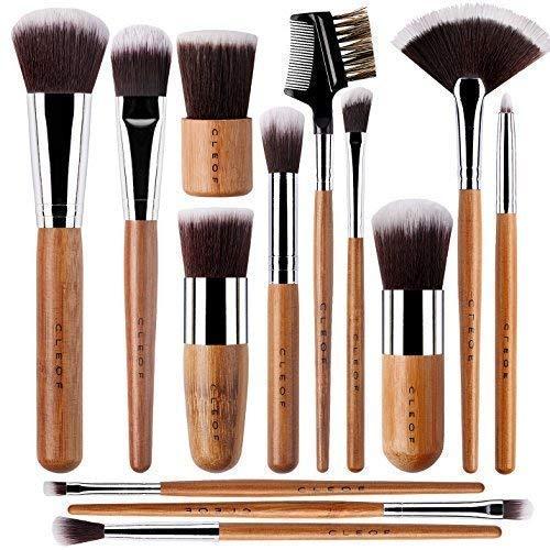 CLEOF - 13 Bamboo Makeup Brushes Professional Set - Vegan & Cruelty Free - Foundation, Blending, Blush, Powder Kabuki Brushes
