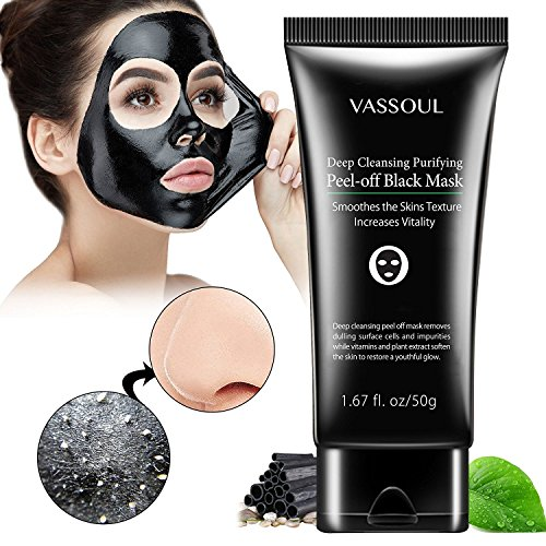 VASSOUL - Vassoul Blackhead Remover Mask, Peel Off Blackhead Mask, Blackhead Remover - Deep Cleansing Black Mask, Bamboo Activated Charcoal Peel-Off Mask (50g)