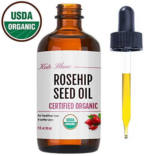 Kate Blanc Cosmetics Rosehip Seed Oil by Kate Blanc. USDA Certified Organic, 100% Pure, Cold Pressed, Unrefined. Reduce Acne Scars. Essential Oil for Face, Nails, Hair, Skin. Therapeutic AAA+ Grade (1 oz)