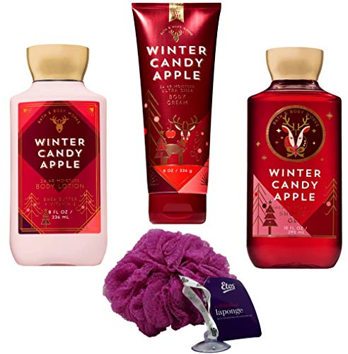 Bath & Body Works - Winter Candy Apple Set (4 Piece) - Shower Gel 10 oz, Lotion 8 oz, Body Cream 8 oz, and Loofah; Signature Collection Gift