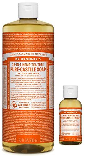 Dr. Bronner Magic Soap - Dr. Bronner's Pure-Castile Liquid Soap – Tea Tree Bundle. 32 oz. Bottle and 2 oz. Travel Bottle