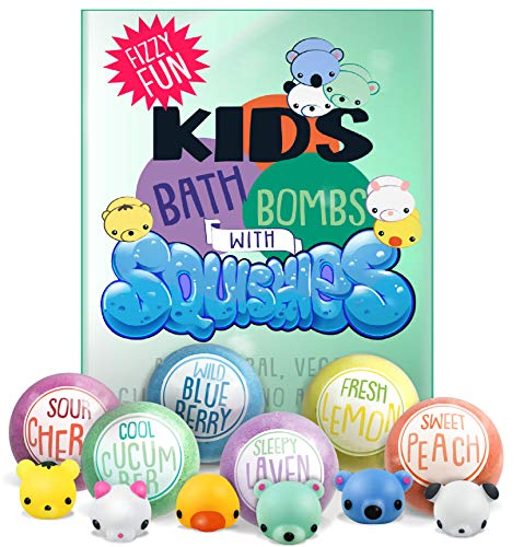 luluburd - Kids Bath Bombs with Surprise SQUISHY Toys inside, Gender Neutral for Boys & Girls, In Gift Box, Perfect for Easter, All Natural, Handmade with Essential Oils- 6 XL Bath Fizzies