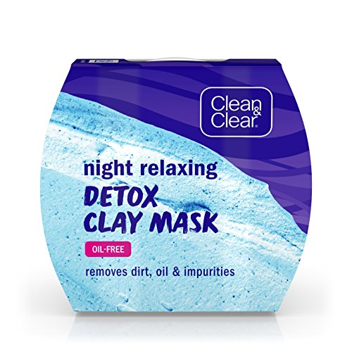 Clean & Clear - Clean & Clear Night Relaxing Detox Bentonite and Kaolin Clay Face Mask for a Purifying Deep Clean, Oil-Free & Non-Comedogenic, 1.7 oz(Pack of 3)
