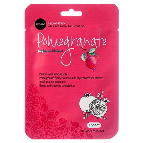 Celavi Cosmetics Essence Facial Sheet Mask, Pomegranate