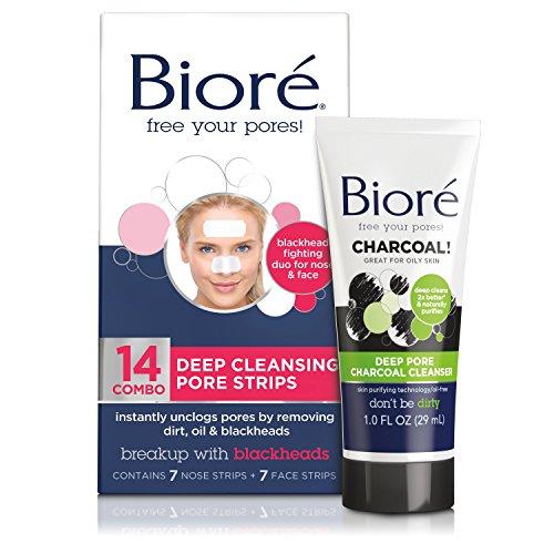 Bioré - Bioré Deep Cleansing Pore Strips for Nose & Face (14 Count) + Mini Bioré Deep Pore Charcoal Cleanser for Oily Skin