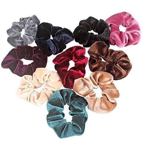 Jaciya Jaciya 10 Pack Hair Elastics Scrunchies Velvet Scrunchy Bobbles Soft Elegant Elastic Hair Bands Hair Ties, 10 Colors (10 Pack)