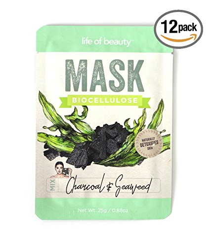 Life of Beauty - Life of Beauty Charcoal and Seaweed Facial Sheet Mask Set - Bio Cellulose Korean Face Masks - Detoxifying and Brightening Face Masks (Charcoal & Seaweed, 12-pack)