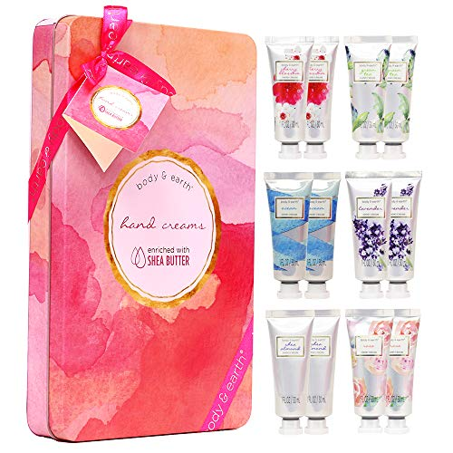BODY & EARTH - Hand Cream Gift Set, BODY & EARTH Hand Lotion for Dry Hands, Moisturizing with Shea Butter, 12pc Travel-size, Best Gifts Idea for Women