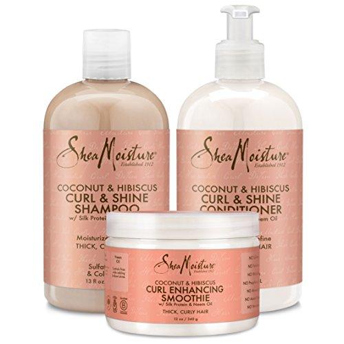 Shea Moisture - Shea Moisture Coconut and Hibiscus Combination Pack – 13 oz. Curl & Shine Shampoo, 13 oz. Curl & Shine Conditioner & 12 oz. Curl Enhancing Smoothie