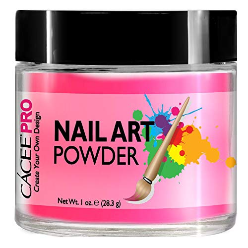 Cacee - Acrylic Nails Color Powder For Nail Art, 1oz Jar by Cacee, For Any Professional Acrylic Nail Kit, Premix of Pigments, Glitter, Metallic Effects (Flamingo Pink #1)