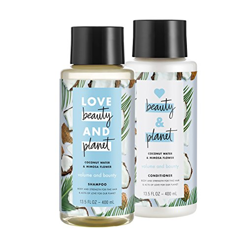 Love Beauty And Planet Volume and Bounty Shampoo and Conditioner, Coconut Water & Mimosa Flower