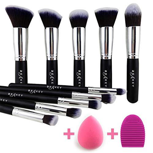 BEAKEY - BEAKEY Makeup Brush Set, Premium Synthetic Kabuki Foundation Face Powder Blush Eyeshadow Brushes Makeup Brush Kit with Blender Sponge and Brush Cleaner (10+2pcs, Black/Silver)