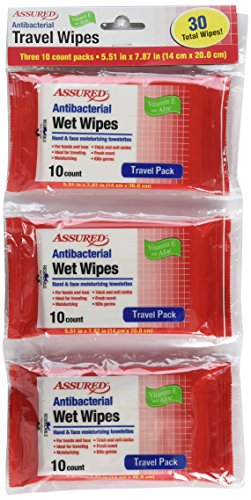 ASSURED - Antibacterial Resealable Wet Wipes, Small Travel Packs, 10 Count - Pack Of 3