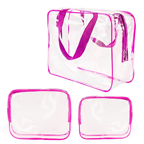 Roybens - 3Pcs Clear Cosmetic Bag Air Travel Plastic Toiletry Pouch, Water Resistant Packing Cubes with Zipper Closure & Carrying handles for Women Baby Men, Make-up brush Case Beach Pool Spa Gym Bags Hot Pink