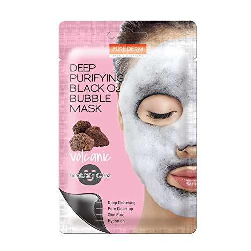 Purederm - Deep Purifying Black O2 Bubble Mask By Purederm: 10 Volcanic Facial Sheets With Detoxifying And Moisturizing Action – Skin Brightening Wash-off Face Mask That Removes Dead Skin Cells And Toxins