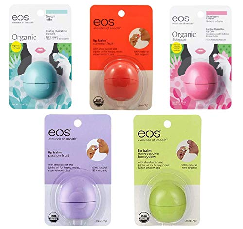 EOS - Eos Organic Smooth Sphere Lip Balm Summer Fruit, Sweet Mint, Strawberry Sorbet, Passion Fruit, Honeydew (5 Pack)