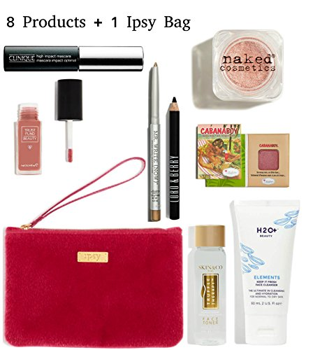 Ipsy - IPSY Cosmetics Bag & 8 Products - Makeup & Skincare - Blush, Eyeshadow, Eyeliner, Mascara, Lip Gloss, Face Cleanser, Toner - High End Beauty Products - 9 Piece Set - Red Fuzzy Zippered Wristlet