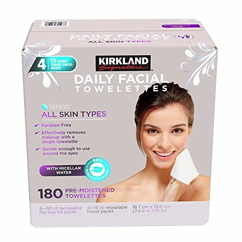Kirkland Signature - Kirkland Signature Daily Facial Towellettes, 4.53 Pound (180 Count, 1-Pack)