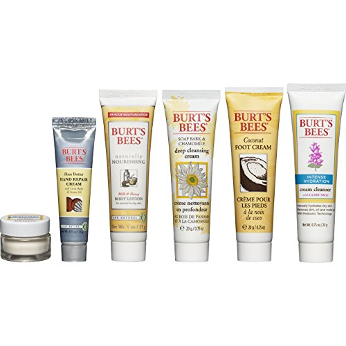Burt's Bees - Burt's Bees Fabulous Mini's Travel Set, 6 Travel Size Products - Cream Cleanser, Day Lotion, Deep Cleansing Cream, Body Lotion, Foot Cream and Hand Repair Cream
