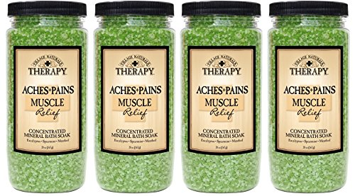 Village Naturals Therapy - Village Naturals Therapy, Mineral Bath Soak, Aches and Pains Muscle Relief, 20 oz, Pack of 4