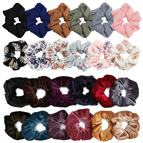 YESHM - YESHM 24Pcs Chiffon Flower Hair Scrunchies,Velvet Colorful Hair Ties,Elastic Hair Bobbles for Ponytail Holder,Hair Accessories Ropes Scrunchie for Women & Girls,Mixcolor Flower Printed & Solid Color