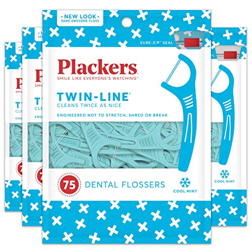 Plackers - Plackers Twin-Line Dental Floss Picks, 75 count (Pack of 4)