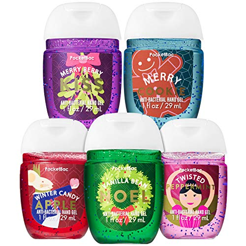 Bath & Body Works - Bath and Body Works HOLIDAY FAVORITES 5-Pack PocketBac Hand Sanitizers (Vanilla Bean Noel, Winter Candy Apple, Twisted Peppermint, Merry Berry Kiss, Merry Cookie)