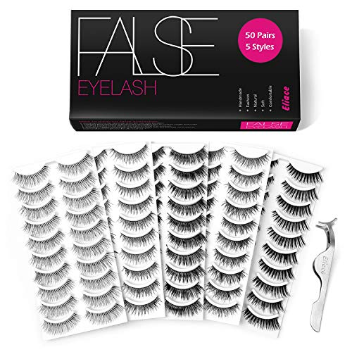 Eliace - 50 Pairs 5 Styles Lashes Handmade False Eyelashes