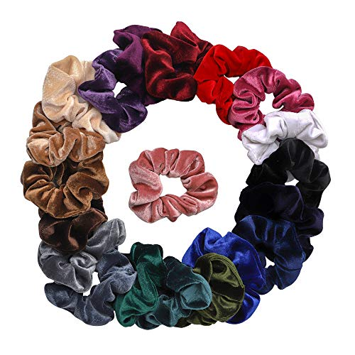Qivange - Qivange 20 Pcs Velvet Scrunchies for Hair Soft Elastic Scrunchy Hair Ties Ropes Cute Hair Accessories Velvet Scrunchies for Women and Girls, Perfect Gift for Girls