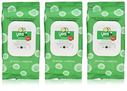 Yes To - Yes To Cucumbers Soothing Hypoallergenic Facial Wipes, 30 Count (Pack of 3)
