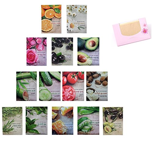 Nature Republic - Nature Republic Real Nature Mask Sheet 14pcs Original Korean Mask Sheet + SoltreeBundle Oil blotting Paper 50pcs