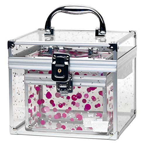 Caboodles - Caboodles Prima Donna Medium Case with Holographic Stars and Pink Dots Bonus Case