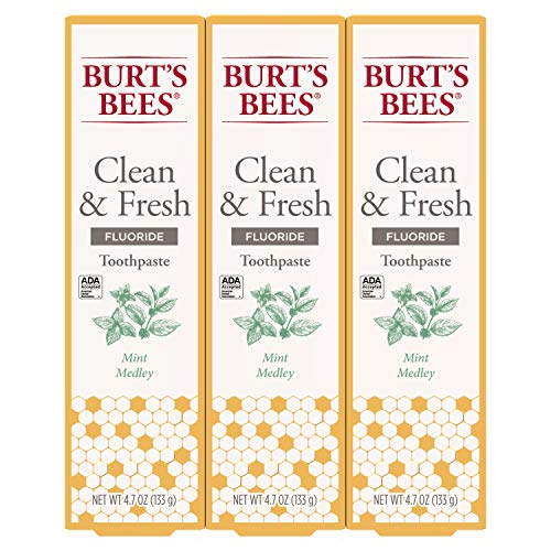 Burt's Bees - Burt's Bees Toothpaste With Fluoride Clean & Fresh, Mint Medley, 4.7oz 3 Count