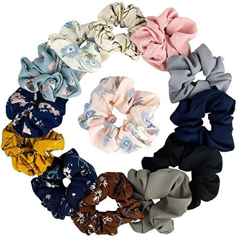 Kecuco - Chiffon Flower Hair Scrunchies