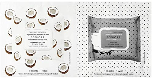 Sephora - Coconut Water Cleansing Wipes & Charcoal Exfoliating Wipes