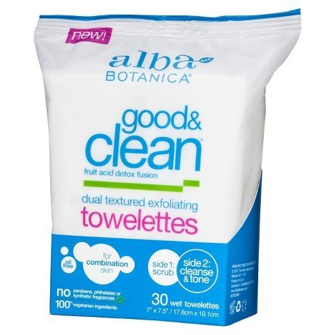 Alba Botanica - Alba Good & Clean Dual Textured Exfoliating Towelettes- 30ct