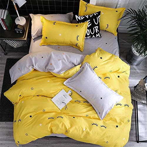 LYDM - LYDM Black Stripe Quilt Cover Pillowcase Sheets 4 Piece Set Yellow Square Quilt Set Single Double Duvet Cover Beding Set for Child Adult Four Seasons Universal 150x200cm