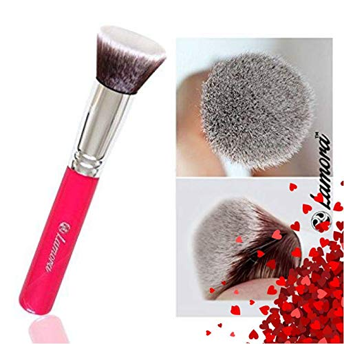 Lamora - Foundation Makeup Brush Flat Top Kabuki for Face - Perfect For Blending Liquid, Cream or Flawless Powder Cosmetics - Buffing, Stippling, Concealer - Premium Quality Synthetic Dense-Bristles
