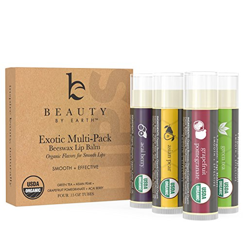 Beauty by Earth - Lip Balm Multi Pack, Fruit Flavored Moisturizing Natural Beeswax Chapstick, Long Lasting Therapy to Repair Dry Chapped Cracked Lips, 4 pack