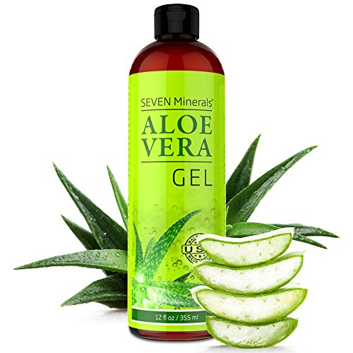 Seven Minerals - Aloe Vera Gel - 99% Organic, Big 12 oz - NO XANTHAN, so it Absorbs Rapidly with No Sticky Residue - made from REAL JUICE, NOT POWDER