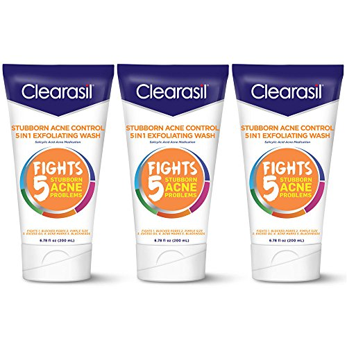 Clearasil - Stubborn Acne Control 5in1 Exfoliating Face Wash, 6.78 oz (3 Pack)