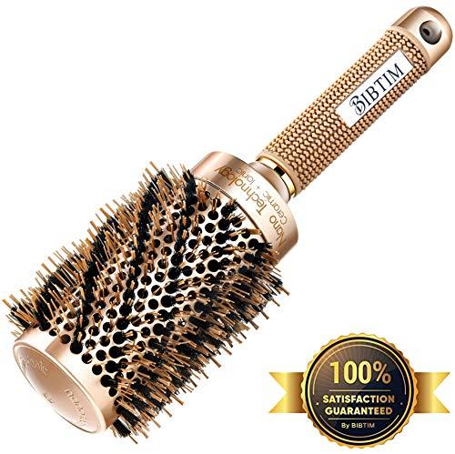BIBTIM - Round Hair Brush with Boar Bristle