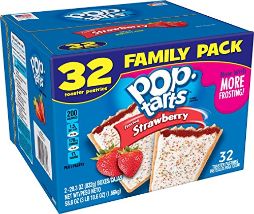 Pop-Tarts - Pop-Tarts Breakfast Toaster Pastries, Frosted Strawberry Flavored, Family Pack, 58.6 oz (32 Count)