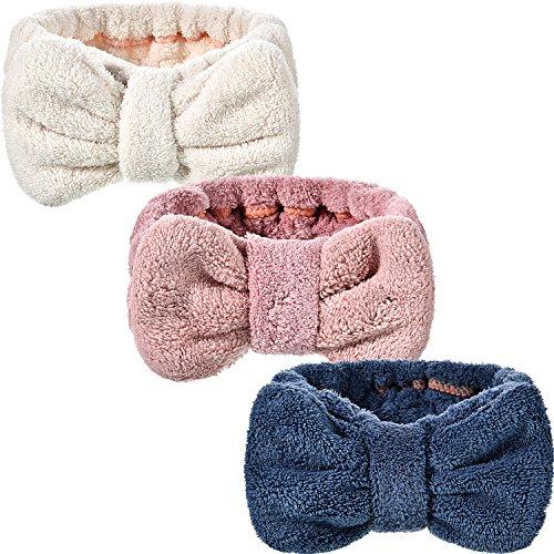 Hicarer - Hicarer 3 Pack Microfiber Bowtie Headbands Makeup Headbands Wash Spa Yoga Sports Shower Facial Adjustable Hair Band for Girls and Women (Color Set 1)