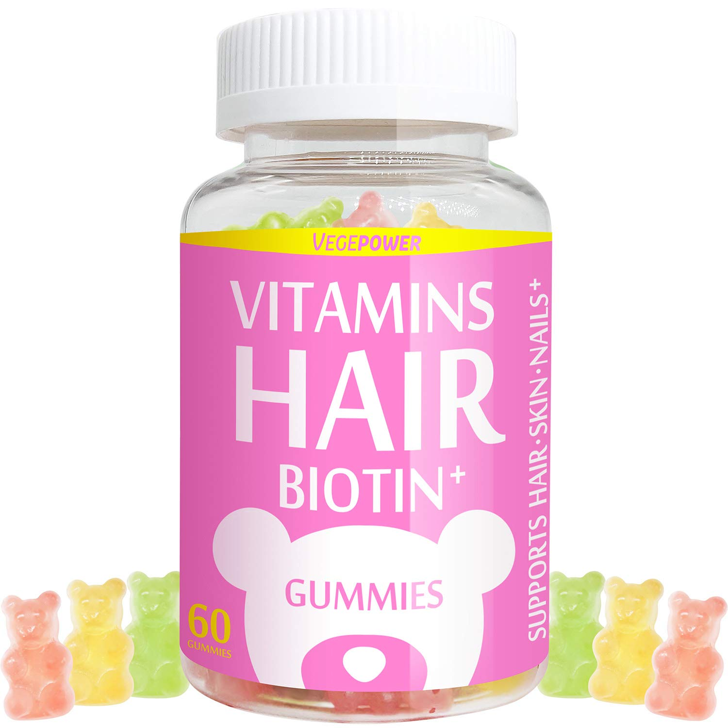 VegePower - VegePower Hair Skin and Nails Vitamin Gummies-Biotin 10,000mcg [Highest Potency] for Hair Growth-Vegan Hair Bear Gummy for Women & Men,Non-GMO,Gluten-Free,Hair Thicken Supplement