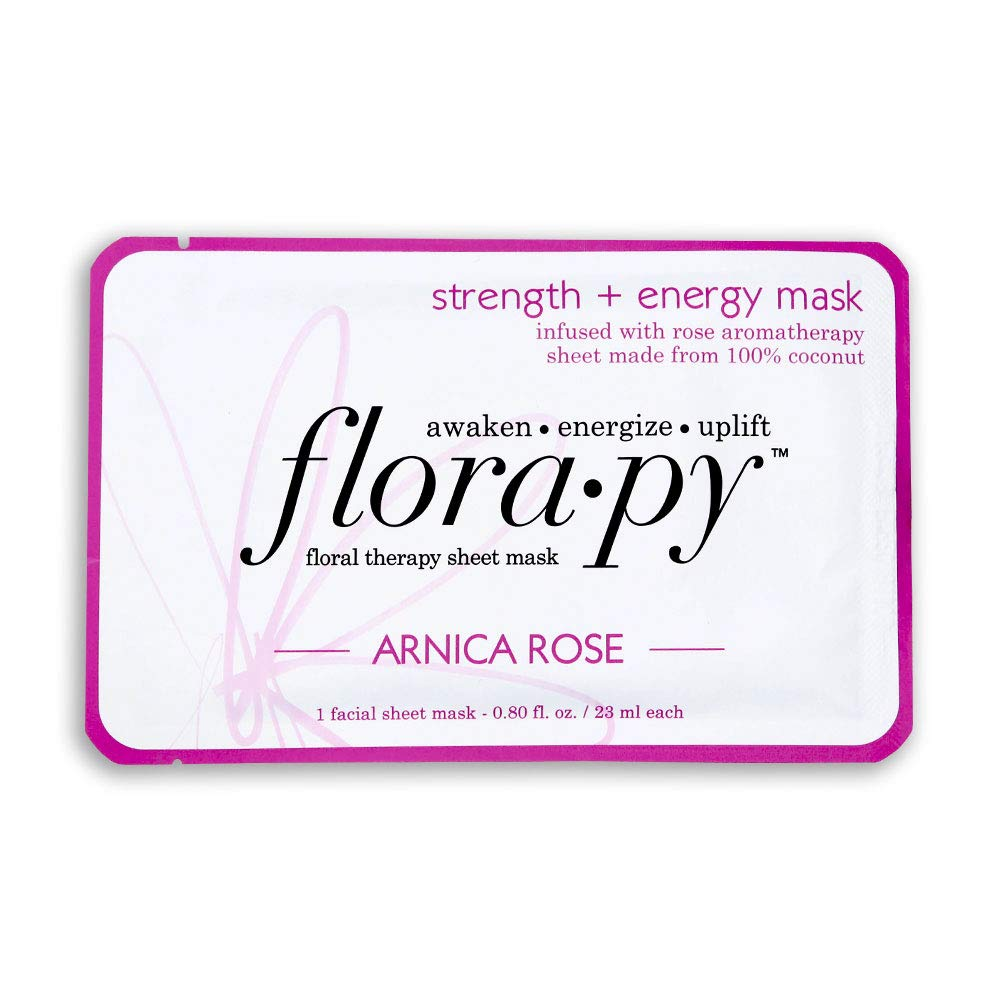 Florapy Beauty Strength + Energy Sheet Aromatherapy Mask, Arnica Rose