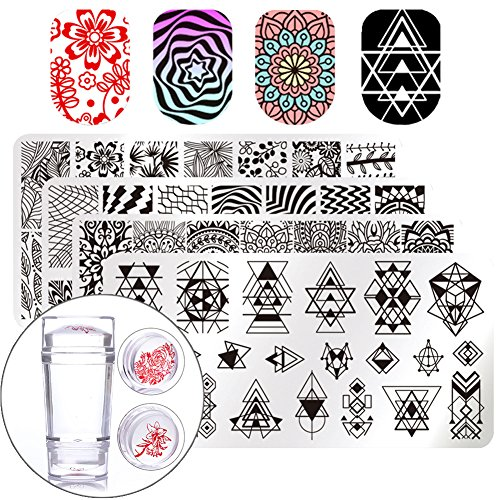 Born Pretty - BORN PRETTY Nail Art Stamp Stamping Templates Stamper Scraper Kit- 4 Manicure Plates Set with 1 Polish Stamper by Salon Designs