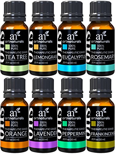 ArtNaturals - ArtNaturals Therapeutic-Grade Aromatherapy Essential Oil Set – (8 x 10ml) - 100% Pure of the Highest Quality Oils – Peppermint, Tea Tree, Lavender, Eucalyptus